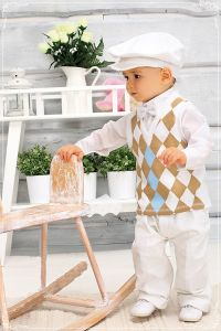 Costum ocazie baieti alb cu vesta 5 piese   86 cm (16-22 luni)