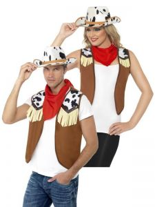 Set cowboy vesta, bandana si palarie   barbati