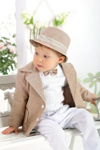 Costum botez sau ocazie baieti Jazz Cappucino   74 cm (6-10 luni)