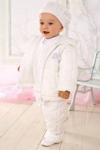 Costum botez baieti toamna iarna cu tricot   86 cm (16-22 luni)
