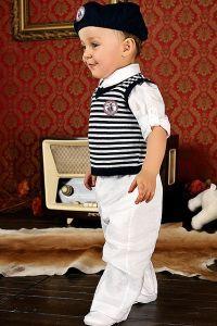 Costum ocazie baieti alb cu vesta 4 piese   86 cm (16-22 luni)