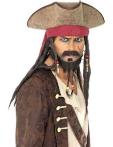 Palarie pirat cu peruca deluxe