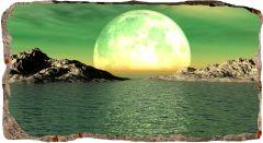 Fototapet 3D Startonight Luna peste ape, luminos in intuneric, 1.50 x 0.82 m