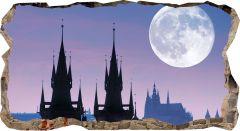Fototapet 3D Startonight Luna peste Praga, luminos in intuneric, 2.20 x 1.20 m