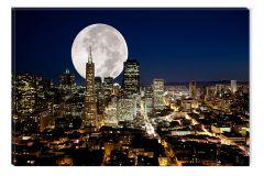 Tablou DualView Startonight Luna plina peste oras, luminos in intuneric, 40 x 60 cm