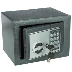 Seif Metalic cu Cifru Electronic si Cheie 17E-7016, Casa de Bani, Cutie de Valori, 230x170x170 mm, Gri