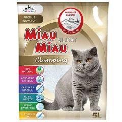 Asternut igienic pentru pisici Miau-Miau, Silicat Clumping, 5L