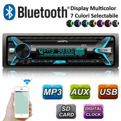 Radio MP3 Player Auto 1DIN cu Bluetooth / MP3 / WMA / USB / RDS / SD / ISO Cube / Multicolor Audiocore