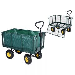 Carucior Metalic Transport Manual pentru Gradina sau Curte cu Maner si Plasa Protectie Detasabila, 4 Roti, Capacitate 350kg