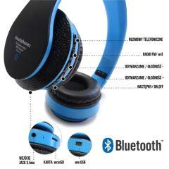 Casti Audio Bluetooth Albastre cu Player MP3, Radio FM, Microfon, Card MicroSD, Apeluri Telefonice