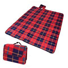 Covoras Patura Izolata Termic pentru Picnic sau Camping, Pliabila tip Geanta, Culoare Rosu/Bleumarin
