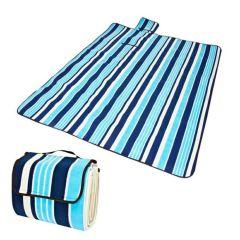 Covoras Patura Izolata Termic pentru Picnic sau Camping, Pliabila tip Geanta, Culoare Alb/Albastru cu Dungi