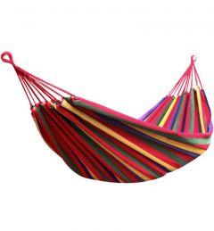 Hamac Single Multicolor pentru Curte sau Gradina, Dimensiuni 200x100cm cu Cablu si Sac Depozitare