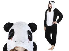 Costum Urs Panda cu gluga pentru carnaval sau petreceri, marime M, culoare Alb – Negru