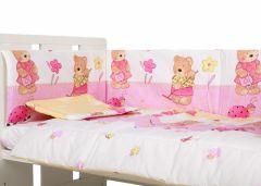 Lenjerie patut cu 4 piese Ursuletul fericit roz