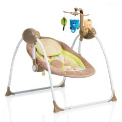 Leagan electric cu conectare la priza Baby Swing+ Cappucino