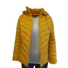Geaca matlasata dama, Univers Fashion - galben mustar cu gluga detasabila - XL