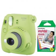 Pachet Camera foto instant Fujifilm Instax mini 9, Verde, cu 10 filme incluse