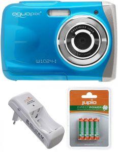 Camera Foto Subacvatica EasyPix W1024 Albastru + BONUS: 16GB mSD, Husa si Set INcarcator si Acumulatori Jupio AAA 850 mAh