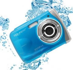 Aparat foto digital EasyPix W1024 Splash Waterproof, 16 MPx, Afisare Data, Albastru + Bonus Husa