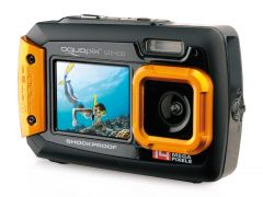 Aparat foto digital AquaPix W1400 Active Waterproof, 20 MPx, Dustproof, Shockproof, Afisare Data, Portocaliu (Dual Display, Ideal pentru Selfie-uri Sub Apa) + BONUS Husa