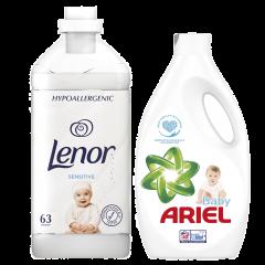 Pachet detergent automat lichid Ariel Baby, 40 spalari, 2,2l + Lenor Sensitive, 63 spalari, 1,9l