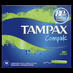 Tampoane Compak Super cu aplicator Tampax, 16bucati