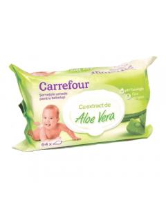 Servetele umede bebe cu aloe vera Carrefour 64buc