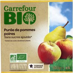 Piure mere/pere 4x100g Carrefour Bio