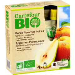 Piure mere/pere 4x90g Carrefour Bio