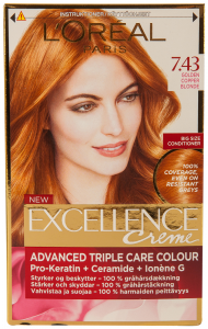 Vopsea de par golden copper blonde Excellence L'Oreal Paris 1 buc