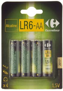 Baterii alcaline AA LR6 1.5V Carrefour 4buc