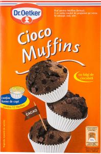 Praf pentru briose cu cacao si fulgi de ciocolata Dr. Oetker
