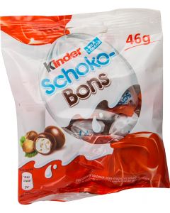 Bomboane de ciocolata cu umplutura de lapte si alune Kinder Schoko-Bons 46g