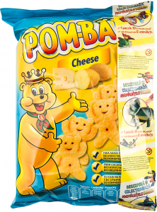 Snack din cartofi expandat si prajit cu gust de cascaval Pom-Bar 100g