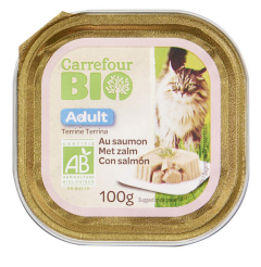 Pate pentru pisica cu somon Carrefour Bio 100g