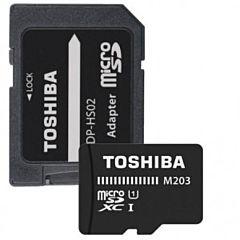 Card memorie Toshiba High Speed M203 100 MB/s, Micro SDXC, 64GB, Class 10, UHS-I + Adapter SD, Negru