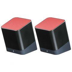 Boxa portabila Twins Hama, 6 W, 4 ohm, Rosu/Negru