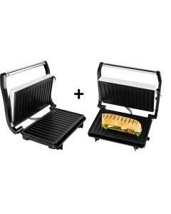 SET 2 bucati  - Sandwich maker & grill ECG S 1070 Panini, 700W, placi nonaderente
