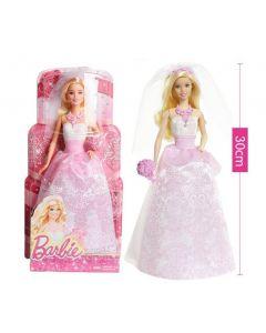 Papusa Barbie, Mattel, mireasa cu voal, rochie lunga si accesorii