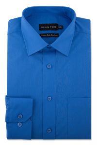 Camasa barbati clasica, Double Two-British Design, maneca lunga cu manseta nasturi/butoni, bumbac, camasa barbateasca regular fit, uni, usor de calcat, albastru royal, 49/50