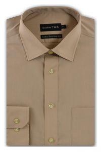 Camasa barbati clasica, Double Two-British Design, maneca lunga cu manseta nasturi/butoni, bumbac, camasa barbateasca regular fit, uni, usor de calcat, bej, 43/44