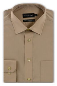 Camasa barbati clasica, Double Two-British Design, maneca lunga cu manseta nasturi/butoni, bumbac, camasa barbateasca regular fit, uni, usor de calcat, bej, 46/47