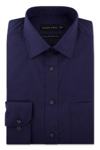 Camasa barbati clasica, Double Two-British Design, maneca lunga cu manseta nasturi/butoni, bumbac, camasa barbateasca regular fit, uni, usor de calcat, bleumarin, 43/44