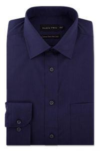 Camasa barbati clasica, Double Two-British Design, maneca lunga cu manseta nasturi/butoni, bumbac, camasa barbateasca regular fit, uni, usor de calcat, bleumarin, 46/47