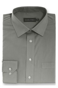 Camasa barbati clasica, Double Two-British Design, maneca lunga cu manseta nasturi/butoni, bumbac, camasa barbateasca regular fit, uni, usor de calcat, gri inchis, 43/44
