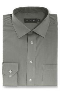 Camasa barbati clasica, Double Two-British Design, maneca lunga cu manseta nasturi/butoni, bumbac, camasa barbateasca regular fit, uni, usor de calcat, gri inchis, 46/47