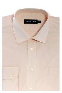 Camasa barbati clasica, Double Two-British Design, maneca lunga cu manseta nasturi/butoni, bumbac, camasa barbateasca regular fit, uni, usor de calcat, piersica, 46/47