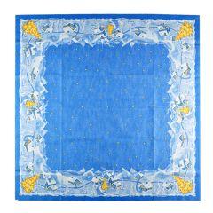 Set 10 naproane 84 x 84 cm pentru masa festiva de Craciun, set pentru restaurante, baruri, cafenele, decoratiune pentru masa de Craciun, model iarna, albastru, Duni