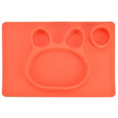 Bol de invatare/mancare din silicon, farfurie compartimentata din silicon, forma iepuras, pentru copii, antiderapanta, bol de mancare compartimentat pentru diversificare, portocaliu, 38 x 25 cm, Ubbe